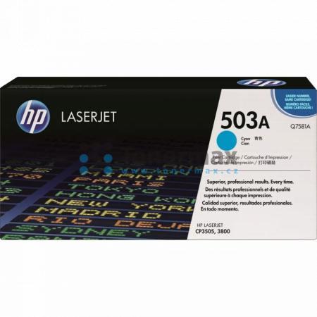 HP 503A, HP Q7581A, originální toner pro tiskárny HP Color LaserJet 3800, Color LaserJet 3800dn, Color LaserJet 3800dtn, Color LaserJet 3800n, Color LaserJet CP3505, Color LaserJet CP3505dn, Color LaserJet CP3505n, Color LaserJet CP3505x