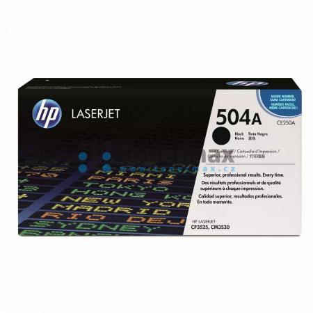 HP 504A, HP CE250A, originální toner pro tiskárny HP Color LaserJet CP3525, Color LaserJet CP3525dn, Color LaserJet CP3525n, Color LaserJet CP3525x, Color Laserjet CM3530 MFP, Color Laserjet CM3530fs MFP