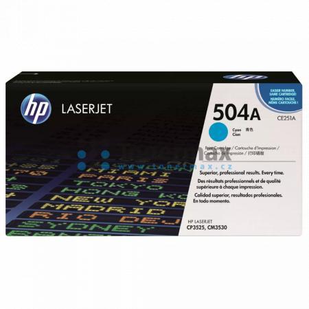 HP 504A, HP CE251A, originální toner pro tiskárny HP Color LaserJet CP3525, Color LaserJet CP3525dn, Color LaserJet CP3525n, Color LaserJet CP3525x, Color Laserjet CM3530 MFP, Color Laserjet CM3530fs MFP