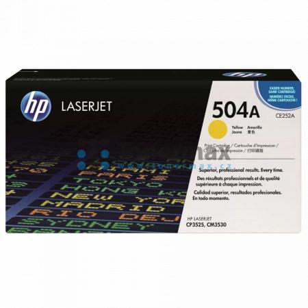 HP 504A, HP CE252A, originální toner pro tiskárny HP Color LaserJet CP3525, Color LaserJet CP3525dn, Color LaserJet CP3525n, Color LaserJet CP3525x, Color Laserjet CM3530 MFP, Color Laserjet CM3530fs MFP