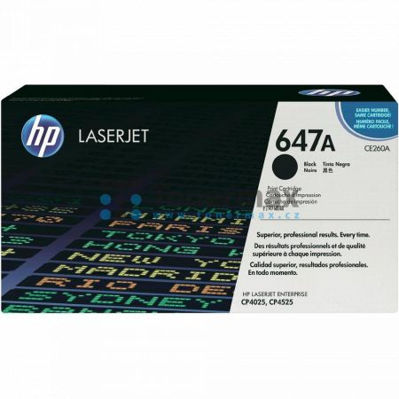 HP 647A, HP CE260A, originální toner pro tiskárny HP Color LaserJet CM4540 MFP, Color LaserJet CP4025, Color LaserJet CP4525, Color LaserJet Enterprise CM4540 MFP, Color LaserJet Enterprise CM4540f MFP, Color LaserJet Enterprise CM4540fskm MFP, Color Lase