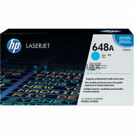 HP 648A, HP CE261A, originální toner pro tiskárny HP Color LaserJet CP4025, Color LaserJet CP4525, Color LaserJet Enterprise CP4025, Color LaserJet Enterprise CP4025dn, Color LaserJet Enterprise CP4025n, Color LaserJet Enterprise CP4525, Color LaserJet En