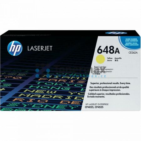 HP 648A, HP CE262A, originální toner pro tiskárny HP Color LaserJet CP4025, Color LaserJet CP4525, Color LaserJet Enterprise CP4025, Color LaserJet Enterprise CP4025dn, Color LaserJet Enterprise CP4025n, Color LaserJet Enterprise CP4525, Color LaserJet En