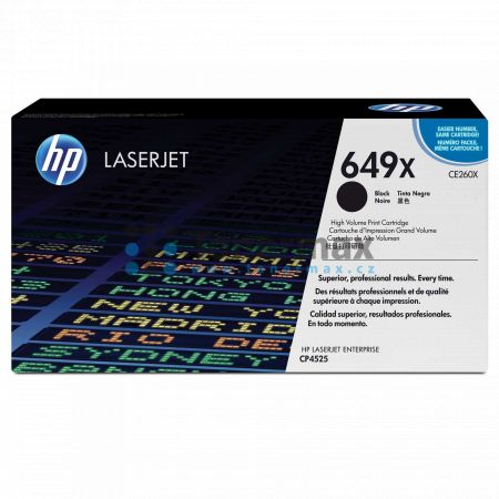 HP 649X, HP CE260X, originální toner pro tiskárny HP Color LaserJet CP4525, Color LaserJet Enterprise CP4525, Color LaserJet Enterprise CP4525dn, Color LaserJet Enterprise CP4525n, Color LaserJet Enterprise CP4525xh