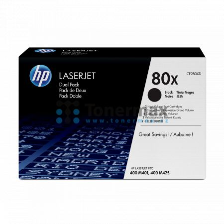 HP 80X, HP CF280XD, dvoubalení, originální toner pro tiskárny HP LaserJet Pro 400 M401a, LaserJet Pro 400 M401, LaserJet Pro 400 M401d, LaserJet Pro 400 M401dn, LaserJet Pro 400 M401dne, LaserJet Pro 400 M401dw, LaserJet Pro 400 M401n, LaserJet Pro 400 MF