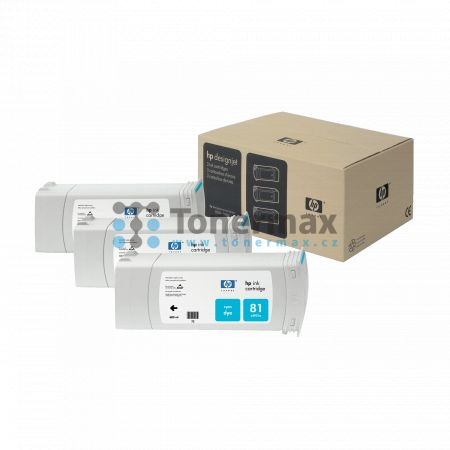 HP 81, HP C5067A, dye, 3ks, originální cartridge pro tiskárny HP Designjet 5000, Designjet 5000ps, Designjet 5500, Designjet 5500ps