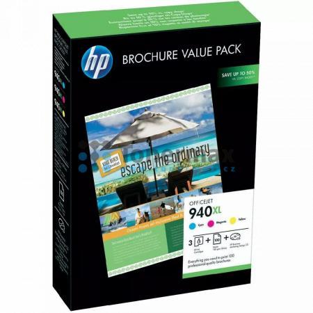 HP 940XL, HP CG898AE + 100 listů 210x297mm, originální cartridge pro tiskárny HP Officejet Pro 8000, Officejet Pro 8000 Enterprise, Officejet Pro 8500, Officejet Pro 8500A, Officejet Pro 8500A Plus, Officejet Pro 8500A Premium