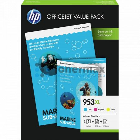 HP 953XL, HP 1CC21AE, Value Pack + 75 listů A4
