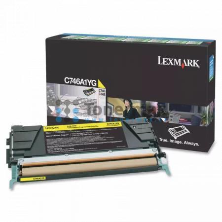 Lexmark C746A1YG, return, originální toner pro tiskárny Lexmark C746dn, C746dtn, C746n, C748de, C748dte, C748e